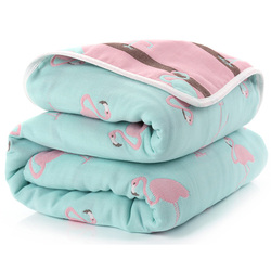 Baby Blanket 110 CM Muslin Cotton 6 Layers Thick Newborn Swaddling Autumn Baby Swaddle Bedding Flamingo Receiving blanket