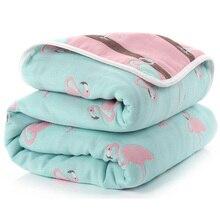 Kocyk dziecięcy 110 CM muślin bawełniany 6 warstw gruby noworodek pieluszki jesień dziecko przewijać pościel kocyk dla niemowląt