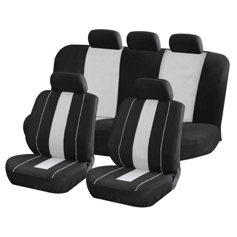 Universal 9pcs High quality Breathable Car Front Rear Seat+ Head Rest Full Set Protector Covers Auto Interior Accessories