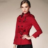 Kadın Çift Düğme trençkot kısa Klasik Rüzgarlık Bahar Sonbahar Dış Giyim Ofis Lady Moda pamuk ince palto femme
