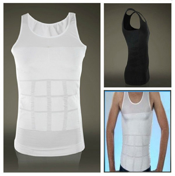 Hot sales Men Shaper Vest Body Slimming Tummy Belly Waist Girdle Shirt Shapewear Underwear 4