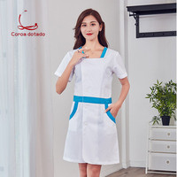 New white gown long sleeve short sleeve beauty salon pharmacy laboratory work clothes stand collar nurse without collar