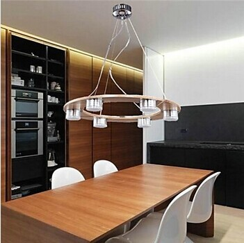 6 Lights Oak Modern Lighting LED Pendant Light  For Foyer Dinning Room,Bulb Included,Lustres Luminaire E Pendente De Sala new design acrylic modern led pendant lighting lamp with 6 lights for dining room foyer lustres e pendentes de sala ac