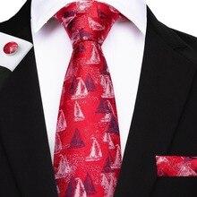 8 Styles Red Color Ties For Men Necktie Hanky Cufflinks Fashion Silk 8cm Neck Tie Mens Paisley Striped Gravatas