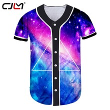 e1e0431ab CJLM Céu Estrelado Colorido dos homens Camisa do Basebol Esportes Triângulo  Geométrica 3D Completo Impresso Camiseta Moda Homem .