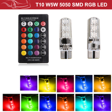 RGB T10 W5W Led 194 168 W5W 5050 SMD Car Dome Reading Light Automobiles Wedge Lamp RGB LED Bulb With Remote Controller styling стоимость