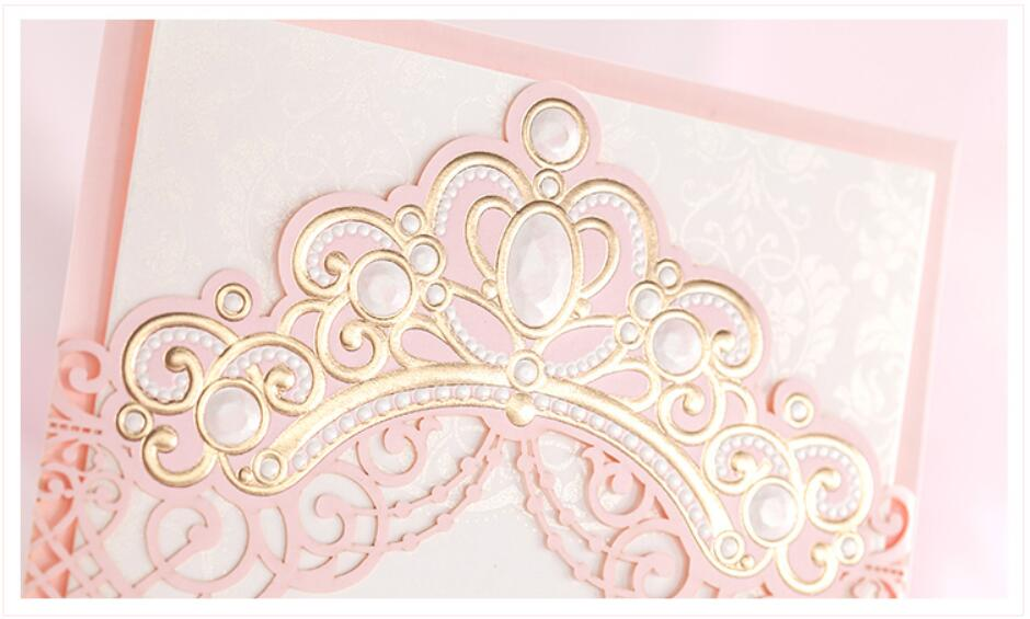 100PCS Customized laser cut bronzing crown wedding party invitation ...
