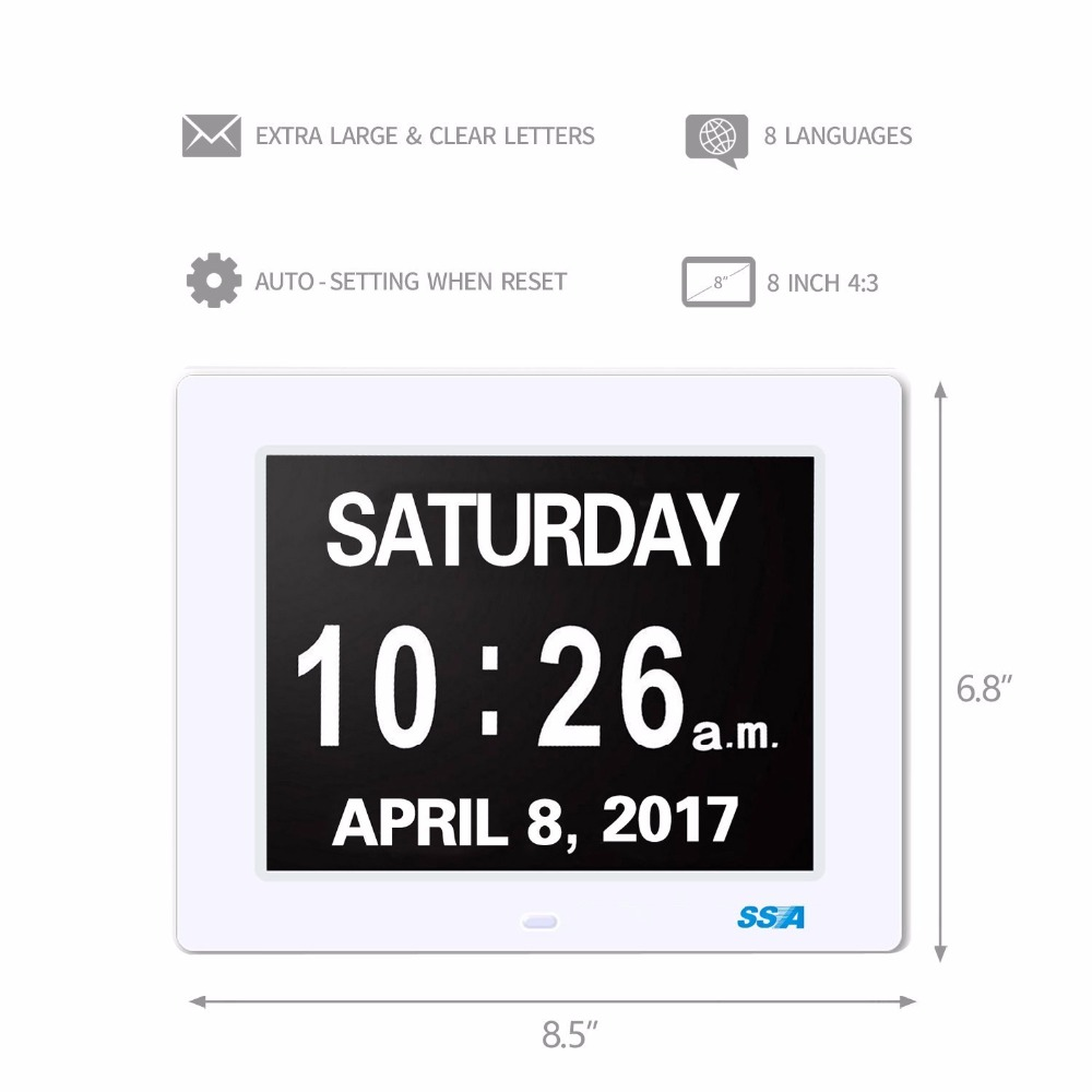 Aliexpress buy digital calendar day clock with large clear aliexpress buy digital calendar day clock with large clear time day and date display wall hanging or deskshelf clock fathers day gifts 8 white from amipublicfo Images