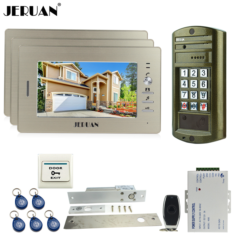 HOME NEW 7 Inch TFT Color Video Door Phone Doorbell Intercom System Kit 3 Monitor + Waterproof Access HD Mini Camera + Power