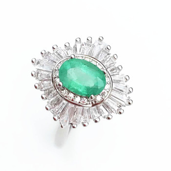 Emerald ring big size Free shipping Natural real emerald 925 sterling silver 5*7mm
