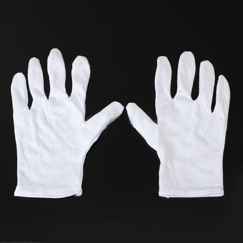 MOOL White Cotton Gloves Anti-static gloves Protective gloves for Housework Workers 1 double cotton gloves white green