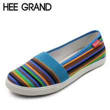 HEE GRAND Spring Women Loafers Soft Rainbow Stripe Slip On Flats For 2016 Summer Style Canvas Shoes Woman Plus Size 35-41 XWC423