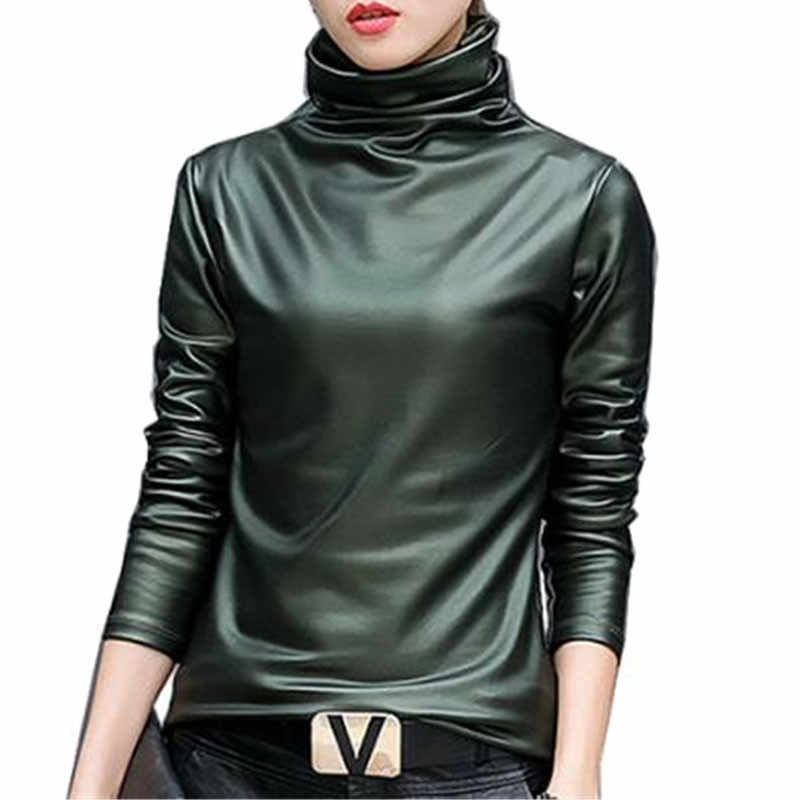 Plus size 4XL women Blouse Tops elegent Turtleneck long sleeve shirt female tops 2018  Autumn Winter pu Leather blusas femininas