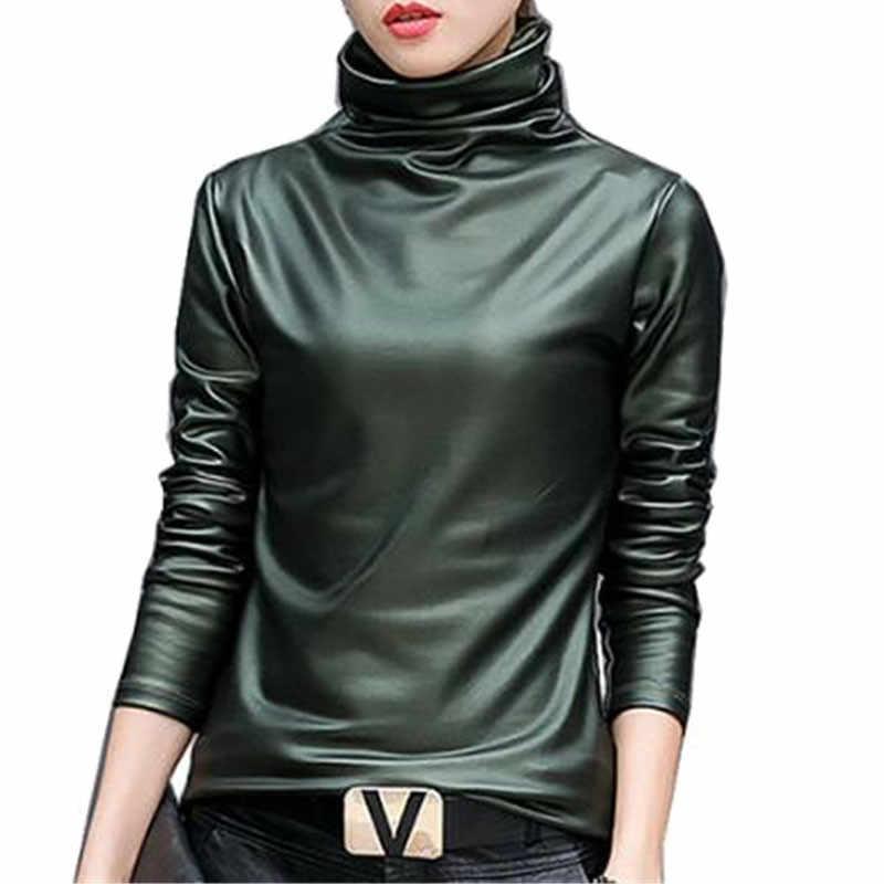 Plus rozmiar 4XL kobiety bluzka bluzki elegancka bluza z golfem z długim rękawem koszula kobiet topy 2018 jesień zima pu skórzane blusas femininas