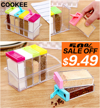 1set 6 Spice Jar Kitchen Condiment Box Acrylic Spices Storage Seasoning Boxes Storage Box Tool