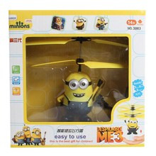 Helicopter Induction Flying Helicopter Eyes Light Despicable Me Minion Quadcopter Drone Kids Toy  Fairy Dol