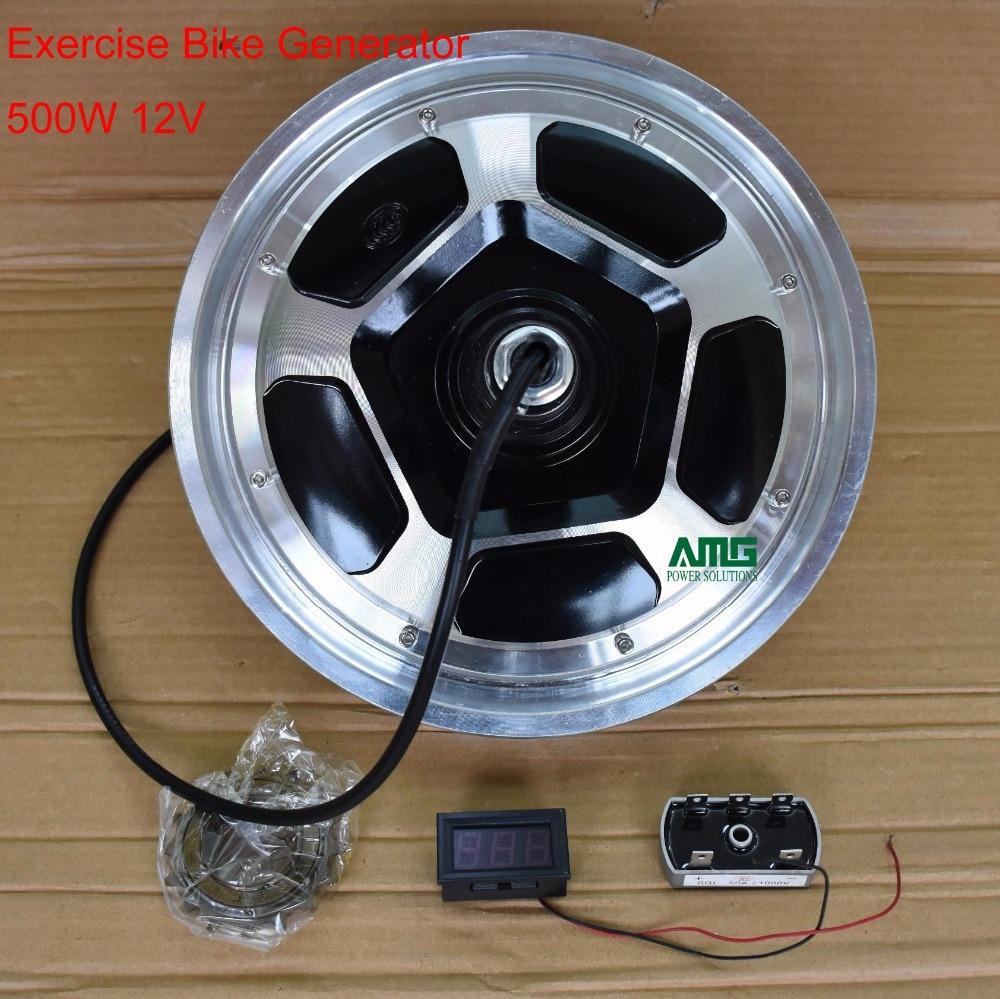 500W 12V/24V/48V/220V rare earth brushless permanent magnet ac generator with groove for DIY stationary exercise bike