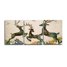 Laeacco 3 Panel Cartoon Deer Animal Posters and Prints  Wall Artwork Vintage Canvas Paintings Calligraphy Home Living Room Decor