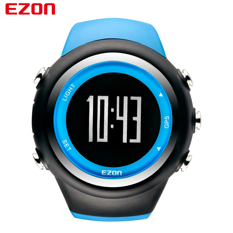 Ezon Blue Outdoor Sport Running Gps Digital Wrist Watch Waterproof 50M Alarm Stop Fitness Watches Digital-watch Clock Men Women все цены