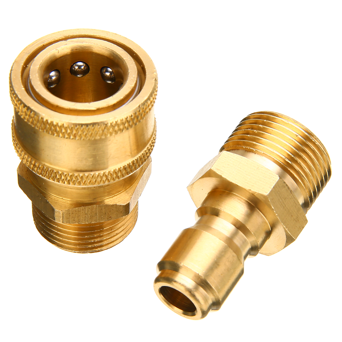 high pressure washer foam lance male adapter connect 14mm m22 x 1 4 1 Pair Brass Quick Couplers M22 Quick Release Pressure Washer Adapter Connector Coupling 14.8MM High Quality