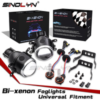 SINOLYN Bixenon Fog lights Projector Lens Bifocal Driving Fog Lamps Retrofit High/ Low Kit Car Motorcycle Universal Waterproof