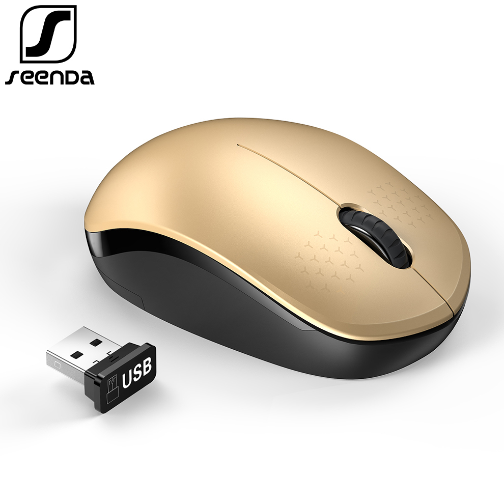 SeenDa Silent Wireless Mouse 2.4G USB Nano Receiver Mouse For Laptop Notebook PC Tablet Home Office Mini Portable Noiseless Mice