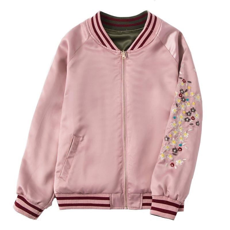 Rose 2018 Bomber Harajuku Vestes Inversée Veste Femmes Broderie Occasionnel  Manteau Baseball Vêtements Satin Pilote Phoenix ... a5764326776