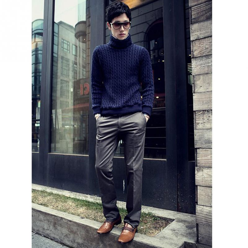 Brand NEW Man Suit Pants Slim Fit trousers Cotton Pure Color Straight Type Long Pants Medium Waist western-style trousers