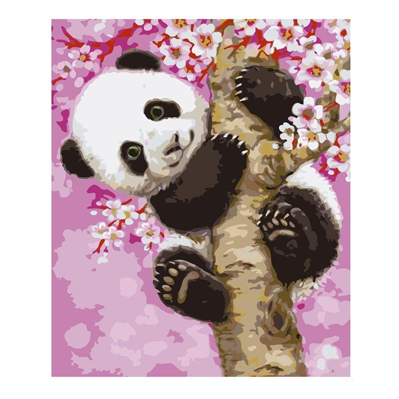 Pintura Por Números DIY Dropshipping 40x50 50x65cm Pink cherry blossom Lona panda Animais Decoração Do Casamento retrato da arte Do Presente