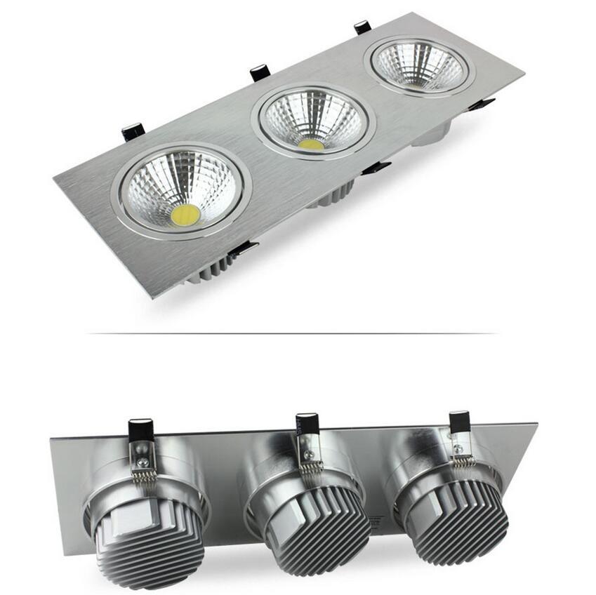 LED très brillante COB Downlight 15 W 21 W 30 W 36 W encastré plafonnier blanc chaud/blanc 3 tête LED encastrable carrée luminaire