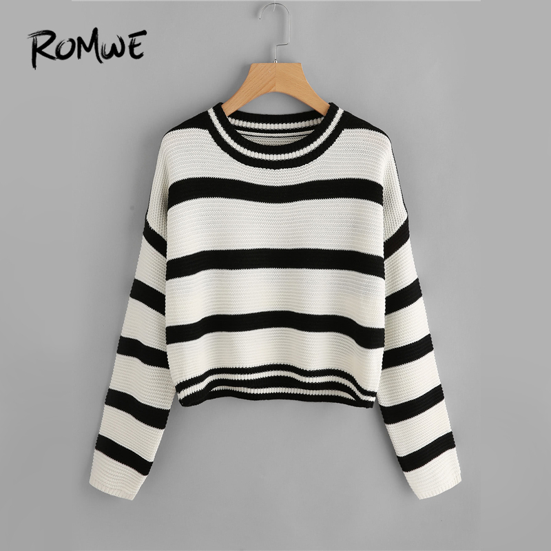 ROMWE Black And White Drop Shoulder Striped Sweater Women Casual Autumn  Winter Round Neck Long Sleeve 88c1f86c7