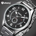 INFANTRY Men Watches Luxury Silver Steel Day Date Display Military Sports Quartz Watch Luminous Male Clock Relogio Masculino