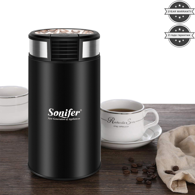 Mini Electric Coffee Grinder Maker Beans Mill Herbs Nuts Stainless Steel 220V Sonifer 1