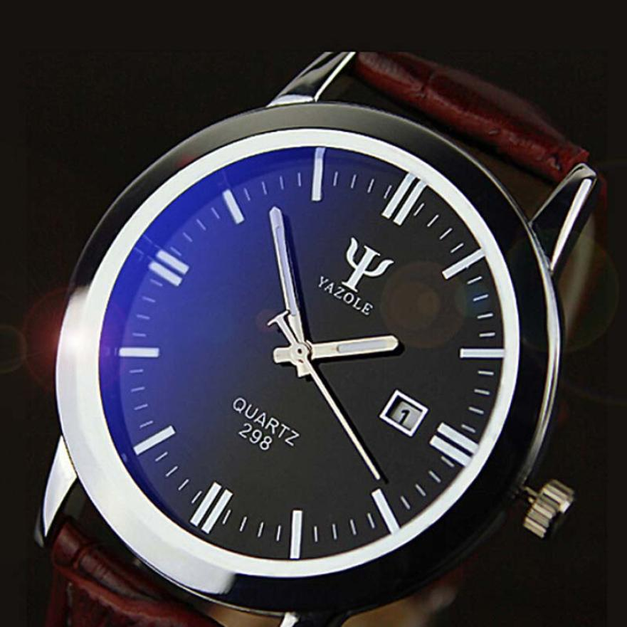 YAZOLE Male Luxury font b Watch b font Man Leather Band Calendar Date Quartz Waterproof Wrist