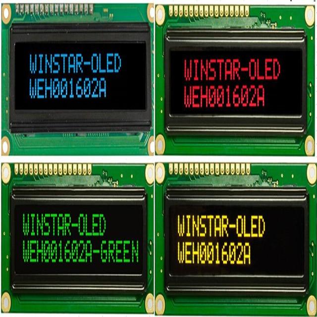 WEH001602A 16x2 COB OLED عرض الأحرف 5 فولت WS0010 تحكم الاسكندنافية الأوروبية السيريلية الخط الروسي spi ميناء مواز