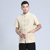 Mandarin Collar Kung Fu Tai Chi Uniform Traditional Chinese Dragon Clothing Tang Suit Top Summer Cotton Linen Shirt Men M XXXL