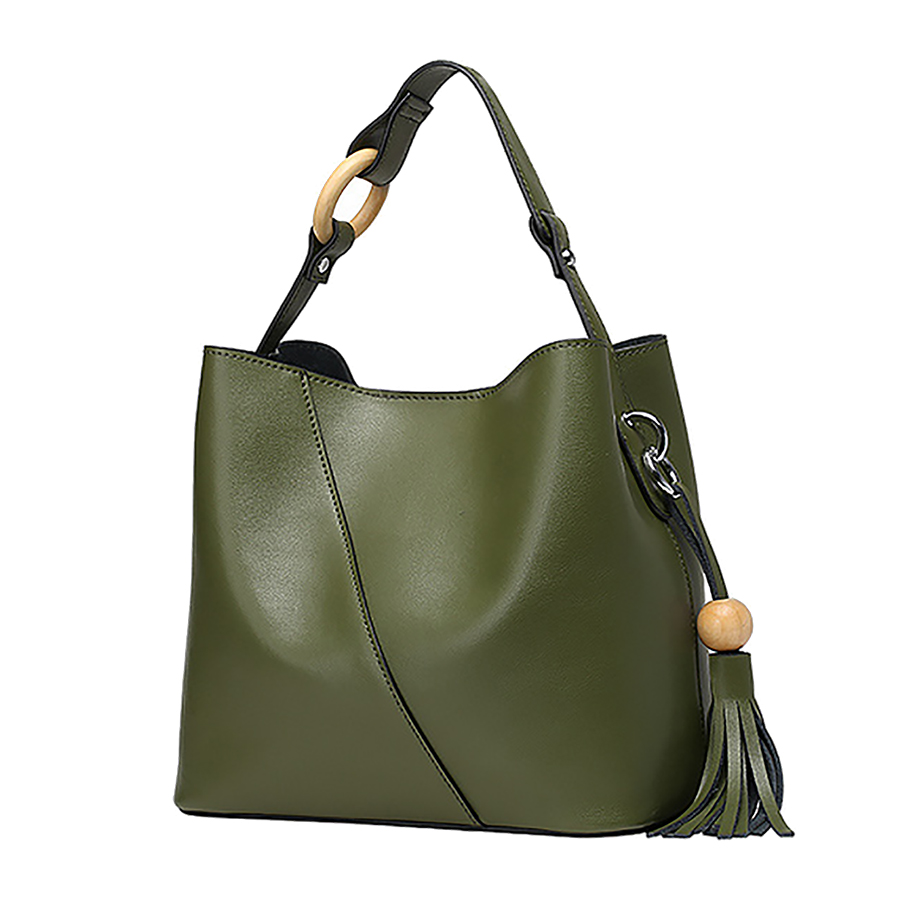 9141a658fa Image ARMELLE 2017 Luxury Green Women Shoulder Bag Female Genuine Leather Bags  Ladies Tassel Bucket Crossbody