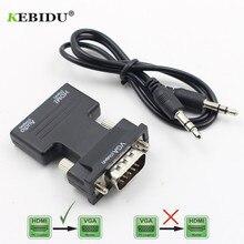 Kebidu HDMI TO VGA แปลงอะแดปเตอร์ HDMI ชายหญิง VGA VGA พร้อมอะแดปเตอร์เสียงสนับสนุน 1080P สำหรับ PC แล็ปท็อป TV Monitor