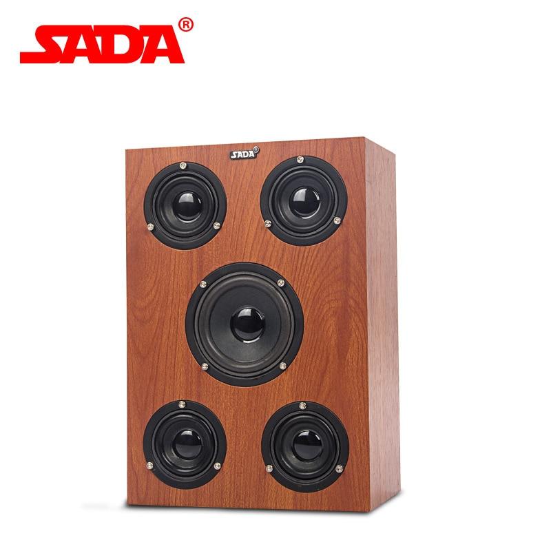 SADA V 192 Multimedia 3D Surround Stereo Heavy Bass Subwoofer Computer USB Wooden Speaker Notebook PC