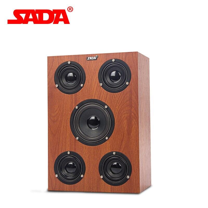 SADA V-192 Multimedia 3D Surround Stereo Heavy Bass Subwoofer Computer USB Wooden Speaker Notebook PC Samrt Phone Wood Speakers