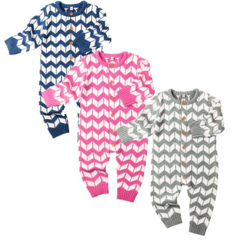Newborn Baby Boy Girl Romper Onesie Stripe Knitted Long ...