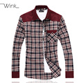 Patchwork Men's Corduroy Dress Shirts Long Sleeve Plaid Slim Fit Big Size M-5XL Blouse Male Chemise Camisa Masculina Spring E507