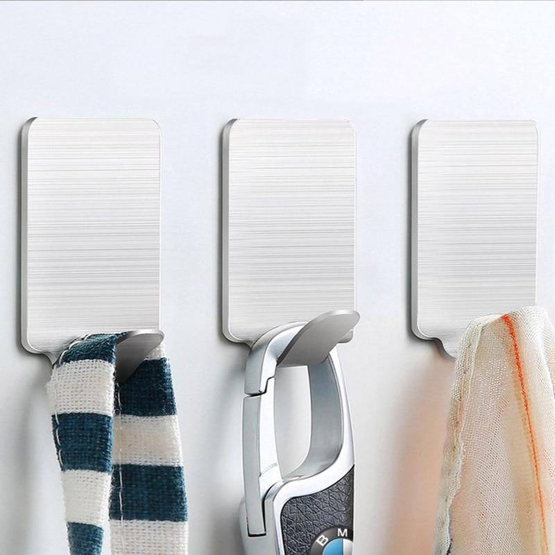 Basupply 8Pcs/lot Stainless Steel Towel Bathroom Hook Kitchenware Hook Hat Bag Key Rack Adhesive Wall Hanger Kitchen Accessories