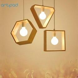 Artpad современный простой деревянный подвесной светильник 1 или 3 головки шестиугольник квадратная треугольная форма деревянный подвесной с...