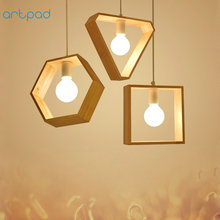 Artpad Modern Simple Wooden Pendant Lamp 1 or 3 heads Hexagon Square Triangle Shape Wood Light For Study Coffee Shop