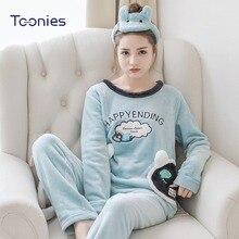 1884238e74 TOONIES Winter Warm Flannel Pyjamas Women 2pcs Set With Headband 2018 Long  Sleeve