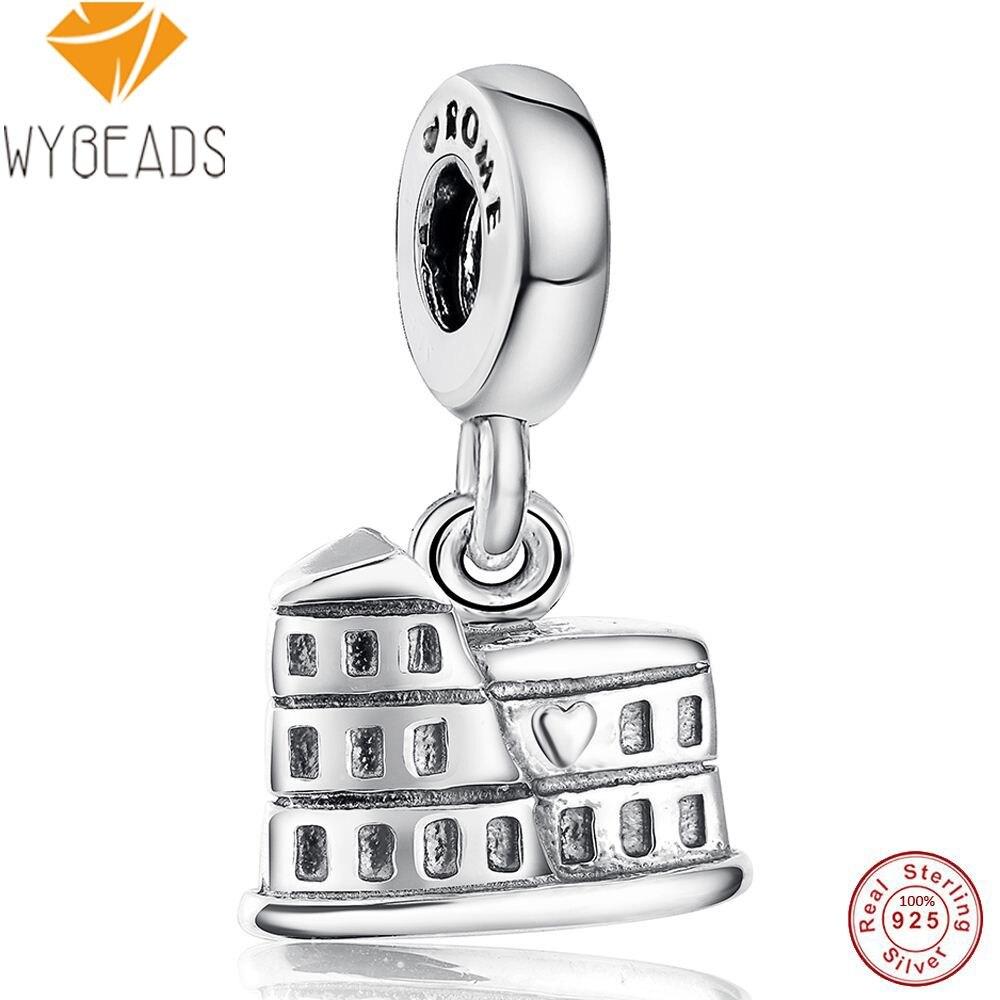 WYBEADS Original 925 Sterling Silver Rome Pendant Fashion European Charm Fit Necklace Bracelet Accessories Jewelry Pendants DIY