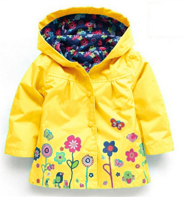Children Wear Coat Girls Lovely Flowers Wind Rain Jackets Girls A ...