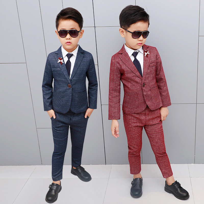 Flowers Boys Formal Suit Wedding campus student Dress Gentleman Kids Wedding Chlidren Clothing H479