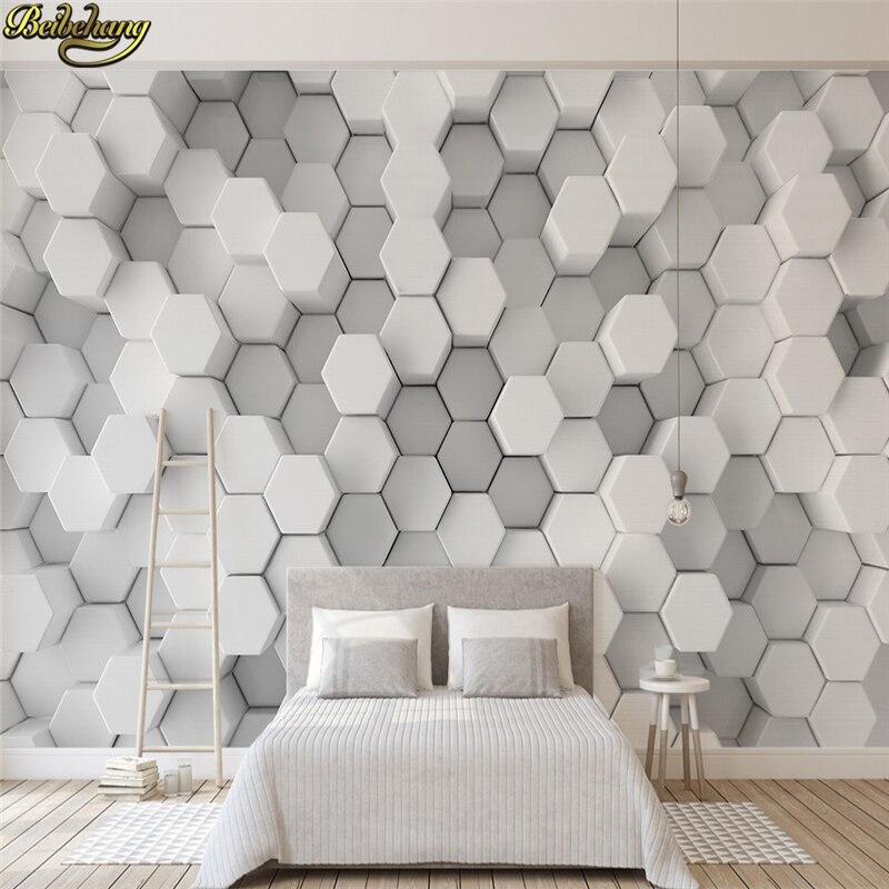 8 13 41 De Reduction Beibehang Papel De Parede 3d Blanc Geometrique Hexagones Mosaique Photo Papier Peint Moderne Literie Chambre Canape Toile De